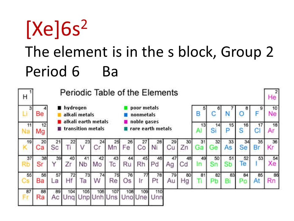 1 identify the group period and block in which the element that 3 xe6s2 the element is in the s block group 2 period 6 ba urtaz Gallery